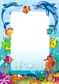 Frame with various sea animals — Stock Vector
