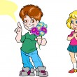 Stock Vector: Boy gives a girl flowers