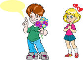 Boy gives a girl flowers — Stock Vector