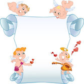 Card with cupids — Stock Vector