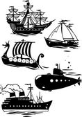 Different types of ships — Stock Vector