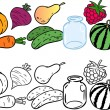 Coloring with vegetables and fruits — Stock Vector