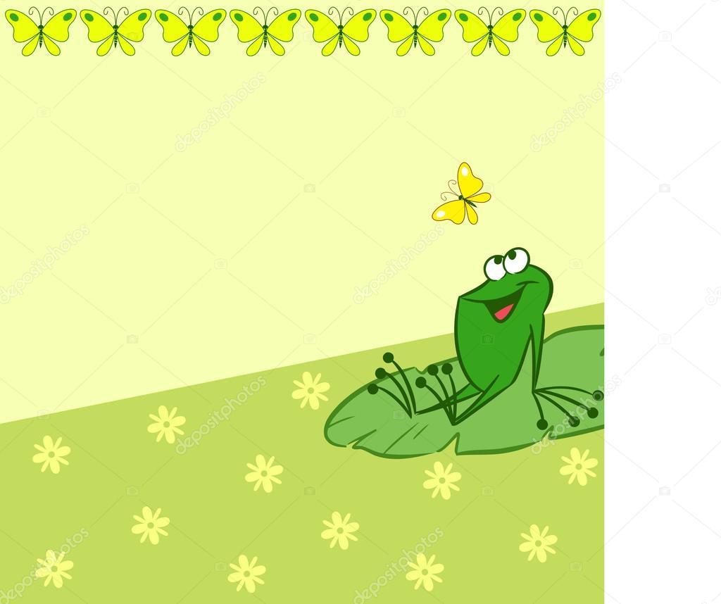 Modello con cartone animato rana e farfalla — vettoriali