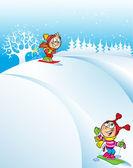 Dzieci na snowy wzgórza — Wektor stockowy