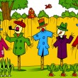 Scarecrows in the garden — Stock Vector