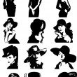 Silhouettes of women in hats — Stock Vector