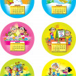 Funny children's calendar — Stock Vector