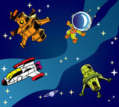Cartoon rymdskepp — Stockvektor