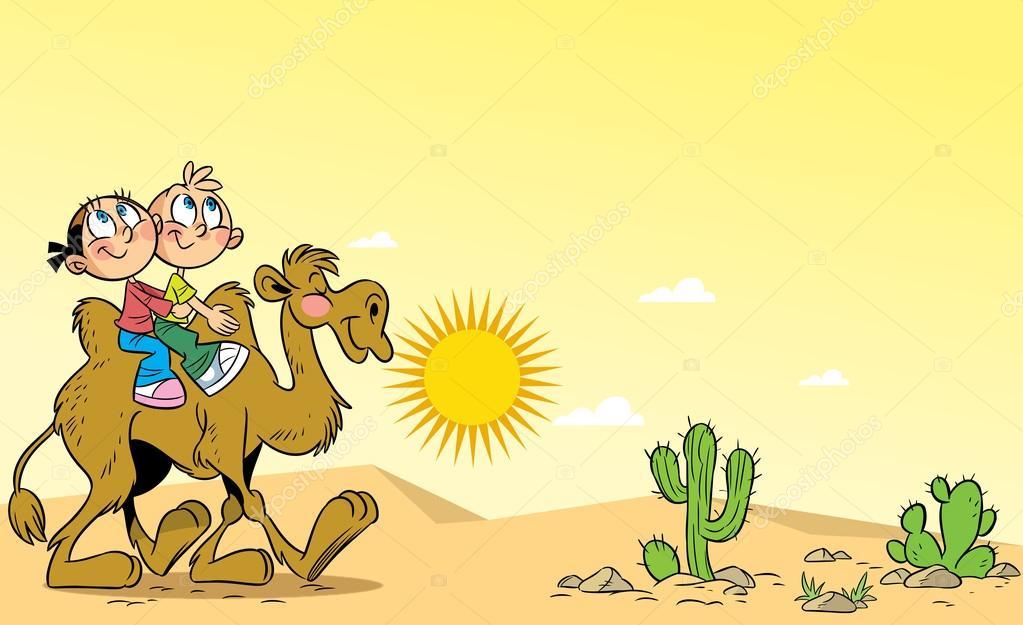 儿童旅行骑骆驼穿越沙漠 — 图库矢量图像08 verzhy