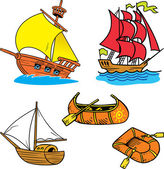 Group of small ships — Vector de stock