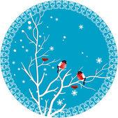снегирь на ветке — Cтоковый вектор