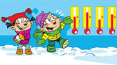 冬の散歩に子供 — ストックベクタ