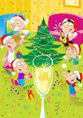 Family celebrates Christmas — Stock Vector