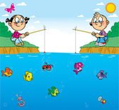 Children on fishing — Stock Vector