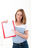 Woman with a folder — Stock Photo