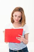 Beautiful woman with folder — Stock Photo