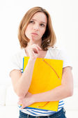 Serious looking woman with folders — Foto de Stock