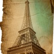 Old-fashioned paris Eiffel Tower — Stock Photo