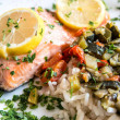 Stock Photo: Grilled salmon and lemon