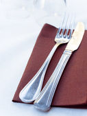 - plate, knife and fork on — Stock fotografie
