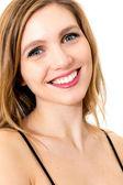 Mulher jovem e bonita olhando feliz — Foto Stock