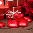Royalty-Free Stock Photo: Chocolate, gift box and flowers