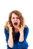 Crazy woman making a face — Stock Photo