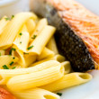 Pasta and smoked salmon — Stock fotografie