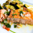 Grilled salmon and lemon - Foto de Stock