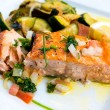 Grilled salmon and lemon - Stock Photo