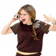 Angry woman making a phone call — Stock Photo
