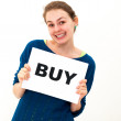 Young woman with board buy  — Stock Photo