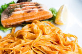 Pasta with salmon — Foto de Stock