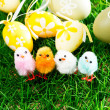 Easter eggs and chickens — Stock Photo #22594891