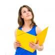 Woman hold a folder — Stock Photo