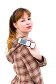 Woman displaying mobile phone — Stock Photo
