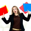 Unhappy woman with folders — Stock Photo