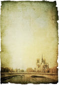 Retro style Notre Dame Cathedral in paris — Stock Photo