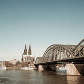 View on Cologne Cathedral and river Rhine — Stock Photo