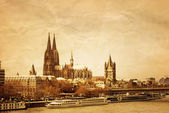 Retro style Gothic Cathedral in Cologne — Stock Photo