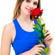 Beautiful sexy blond woman with red rose — Stock Photo