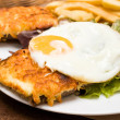 French Toasted Sandwich - croque madame — Stock Photo