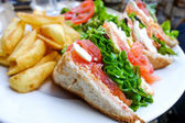 Sandwich with Salmon, cheese and golden French fries potatoes — Stock Photo