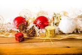 Christmas decoration over lights — Stock Photo