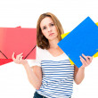 Unhappy woman with folders — Stock Photo #32924549