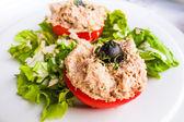 Fresh salmon salad — Stock Photo