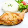 Stock Photo: Fried chicken with rice
