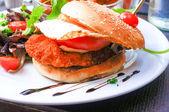 American cheese chicken burger — Stock Photo