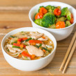 Asian soup noodles and vegetables  — Stock Photo