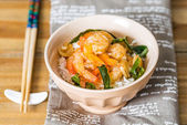 Delicious asian fried shrimp and rice — Stock Photo
